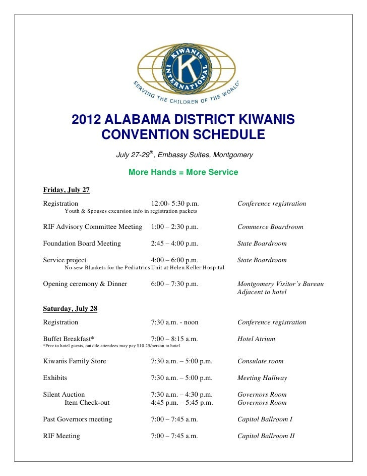 2012 ALABAMA DISTRICT KIWANIS                  CONVENTION SCHEDULE                                     July 27-29th, Embas...