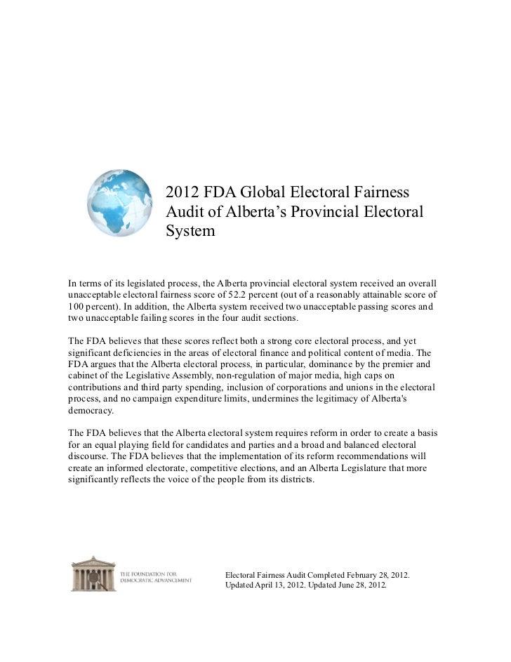 2012 FDA Global Electoral Fairness                         Audit of Alberta's Provincial Electoral                        ...