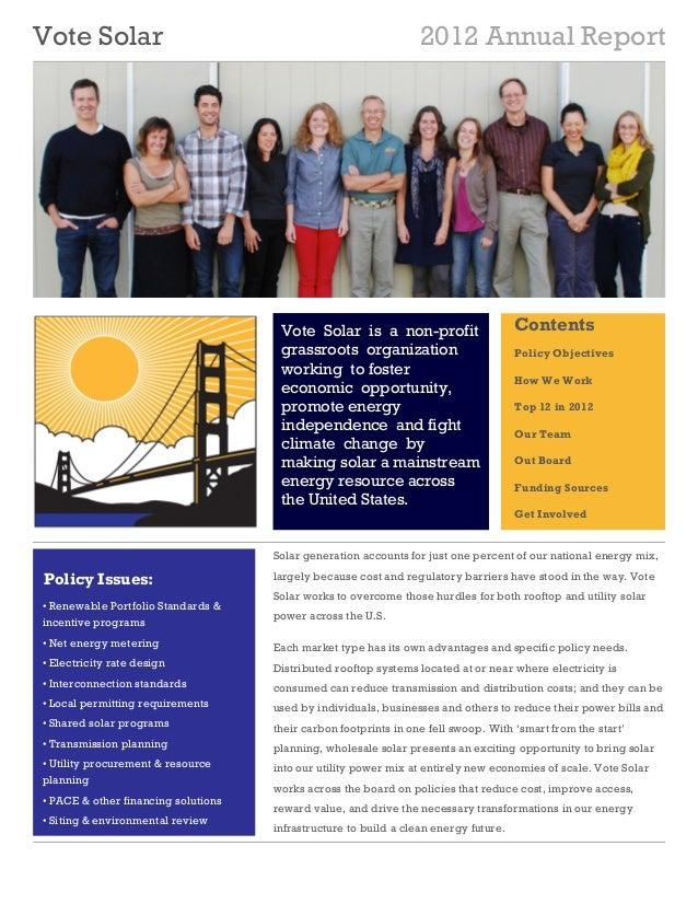 Vote Solar                                                        2012 Annual Report                                      ...