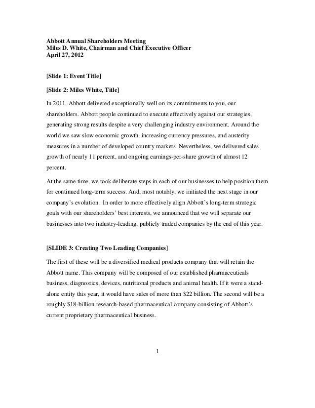Abbott Labs 2012 AGM Presentatio