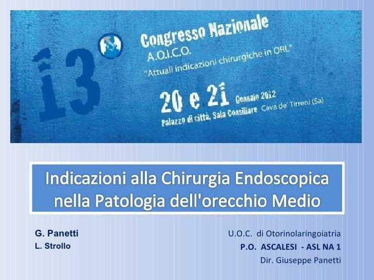 G. Panetti   U.O.C. di OtorinolaringoiatriaL. Strollo      P.O. ASCALESI - ASL NA 1                     Dir. Giuseppe Pane...