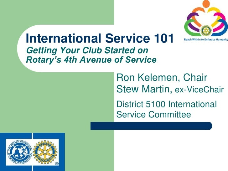 International Service 101Getting Your Club Started onRotary's 4th Avenue of Service                    Ron Kelemen, Chair ...