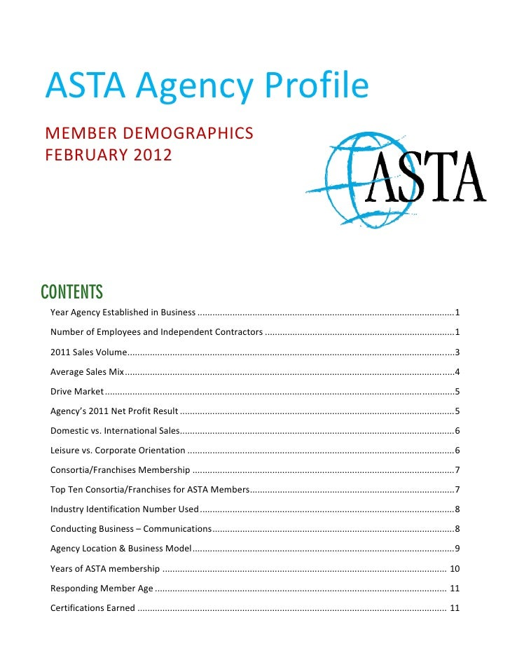 2012 ASTA Agency Profile