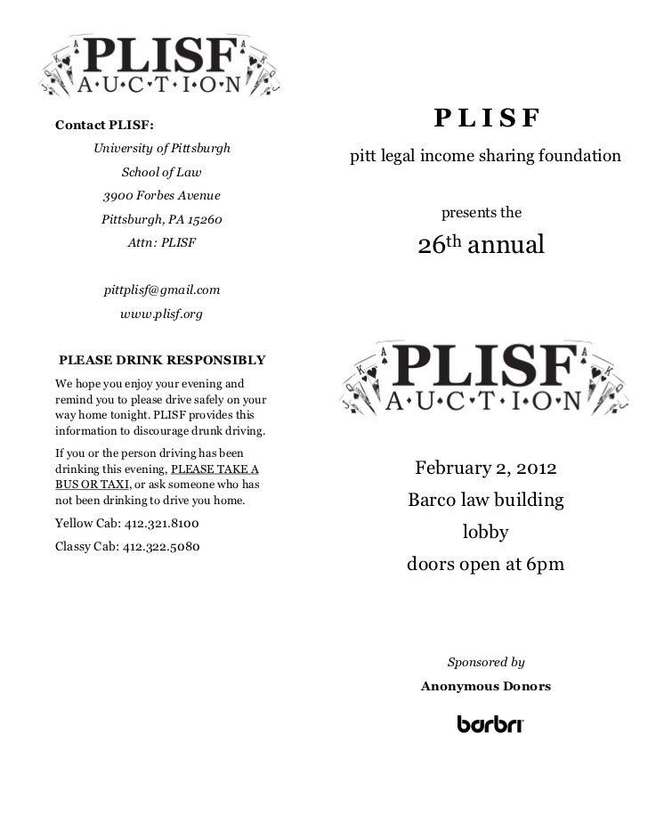 PLISF 2012 Auction Program