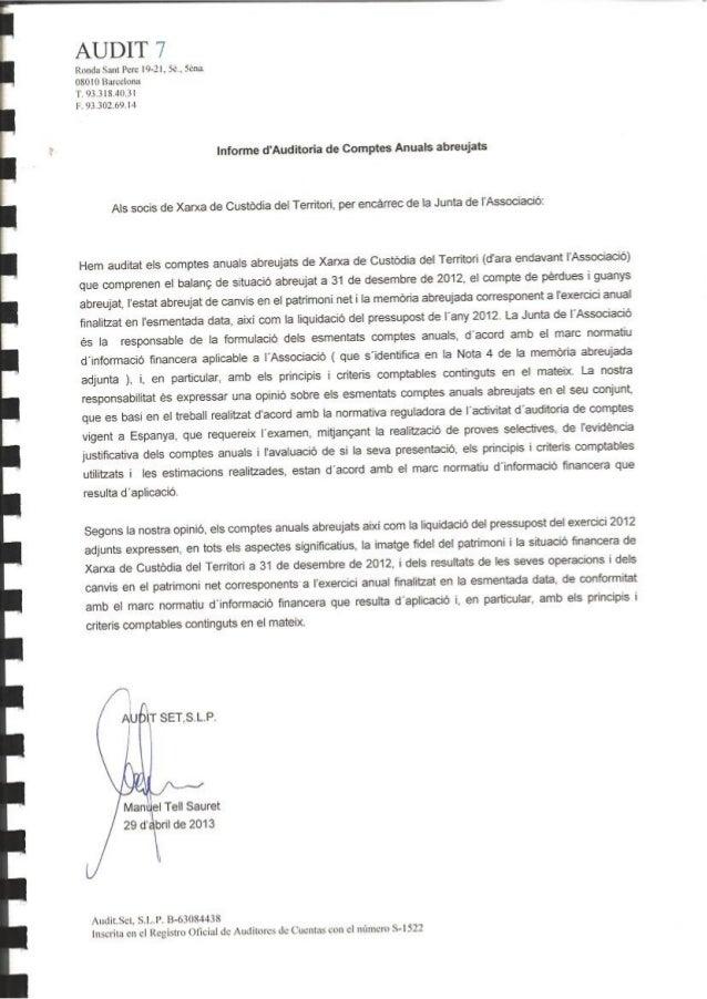 XARXA DE CUSTÒDIA DEL TERRITORIBalanç de situació a 31 de desembre(xifres expressades en unitats deuro)ACTIUNotamemòria 20...