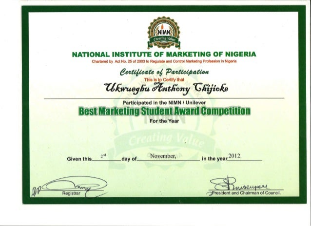 2012 best marketing student in nigeria participation certificate