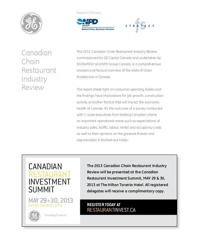 2012 Canadian Chain Restaurant Industry Review