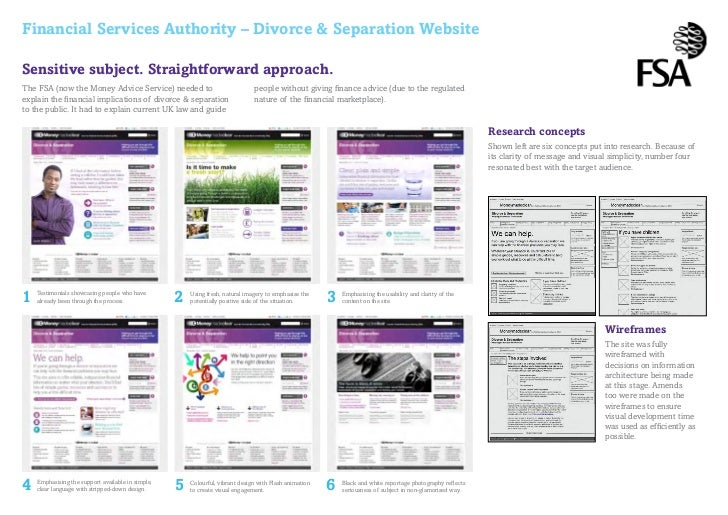 Financial Services Authority – Divorce & Separation WebsiteSensitive subject. Straightforward approach.The FSA (now the Mo...