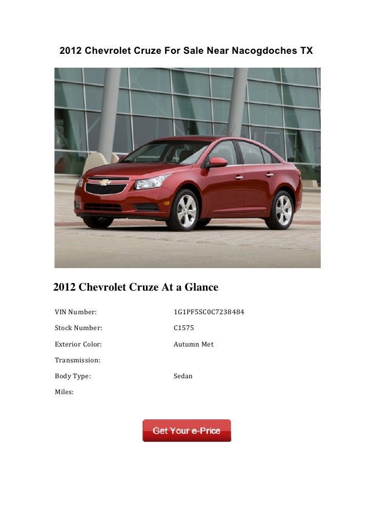 2012 Chevrolet Cruze For Sale Near Nacogdoches TX