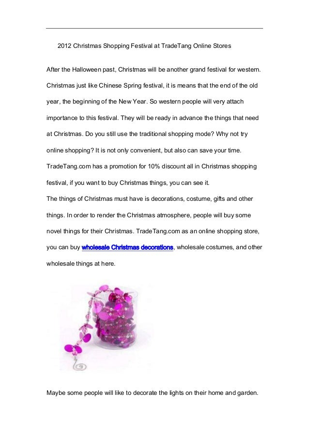 2012 christmas shopping festival at trade tang online stores