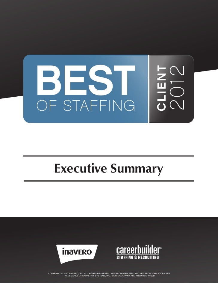 2012 Best of Staffing Client Executive Summary