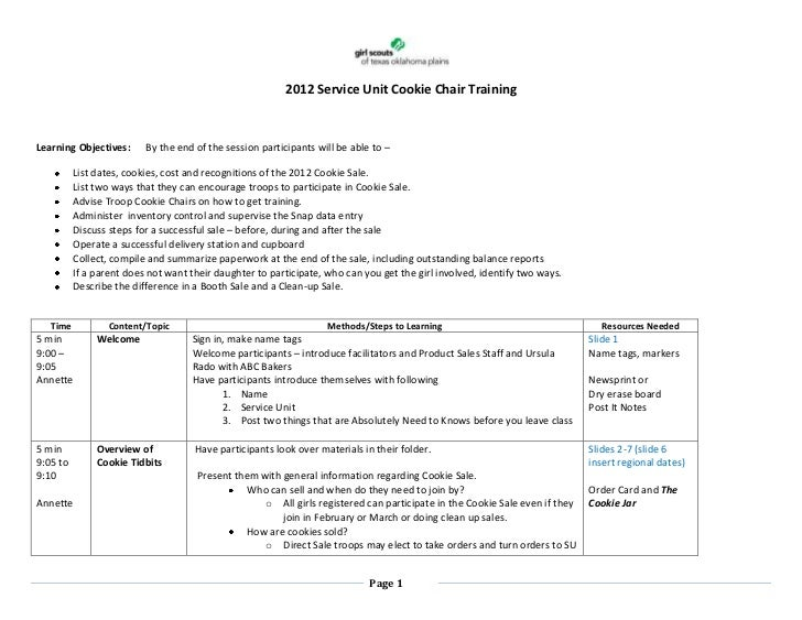 2012 Service Unit Cookie Chair TrainingLearning Objectives:      By the end of the session participants will be able to – ...