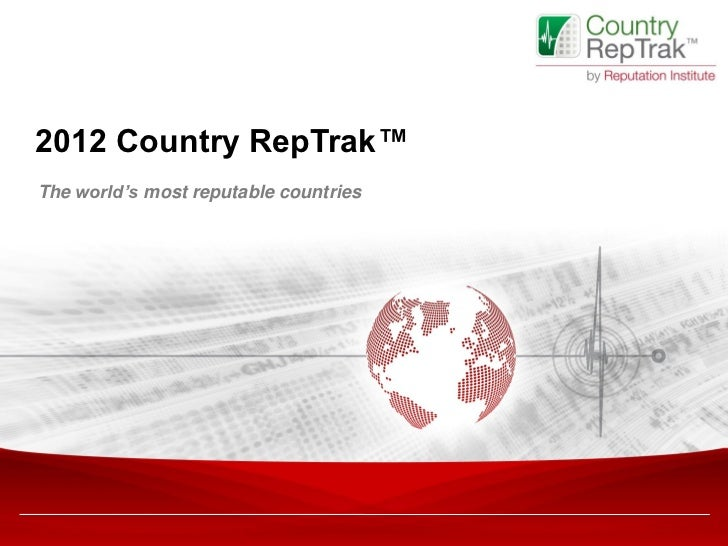 2012 Country RepTrak™The world's most reputable countries