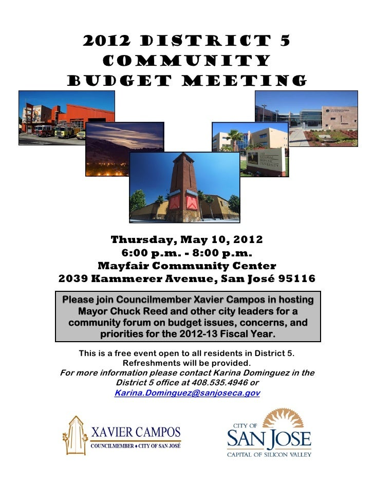 2012 District 5 Community Budget Meeting flyer