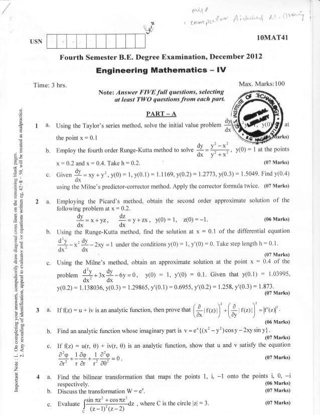 4th Semester Mechanincal Engineering (2012-December) Question Papers