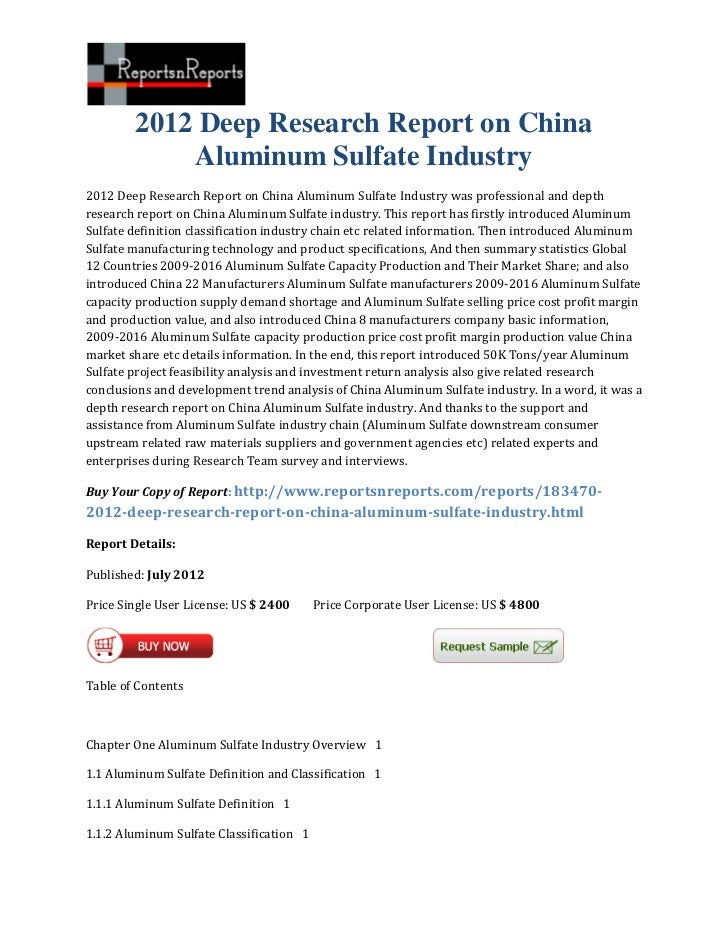2012 deep research report on china aluminum sulfate industry