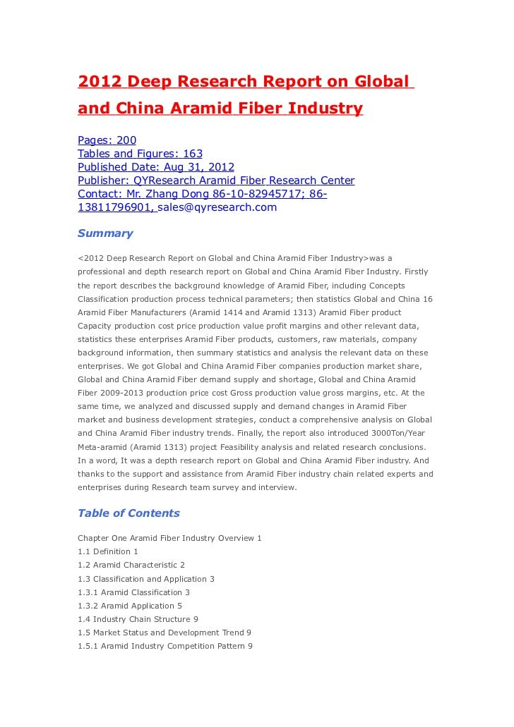 2012 Deep Research Report on Globaland China Aramid Fiber IndustryPages: 200Tables and Figures: 163Published Date: Aug 31,...