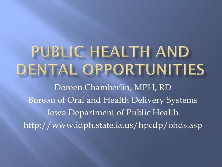 Doreen Chamberlin, MPH, RD Bureau of Oral and Health Delivery Systems      Iowa Department of Public Healthhttp://www.idph...