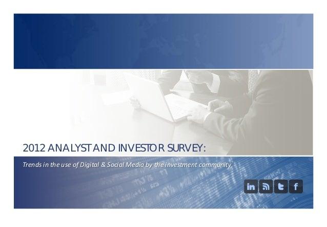 2012 Brunswick Investor Use of Digital and Social Media Survey