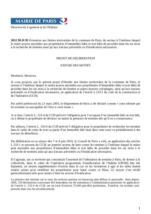 Direction du Logement et de l'Habitat2012 DLH 85 Extension aux limites territoriales de la commune de Paris, du secteur à ...