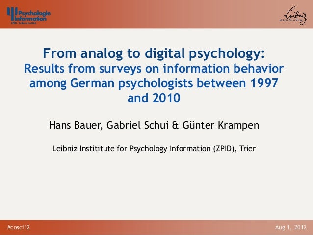 Bauer, H., Schui, G. & Krampen, G. (2012, August).From analogue to digital psychology:Results from surveys on information behavior among German psychologists between 1997 and 2010.(PDF) International Conference on Science and the Internet 2012,Düsseldorf