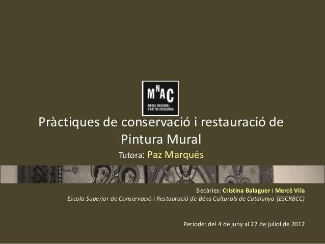 Pràctiques de conservació i restauració de Pintura Mural Tutora: Paz Marqués  Becàries: Cristina Balaguer i Mercè Vila Esc...