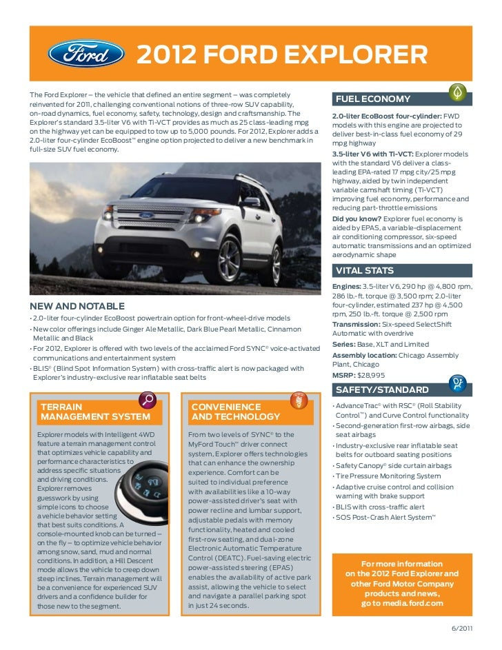 2012 ford ExplorErThe Ford Explorer – the vehicle that defined an entire segment – was completelyreinvented for 2011, chal...