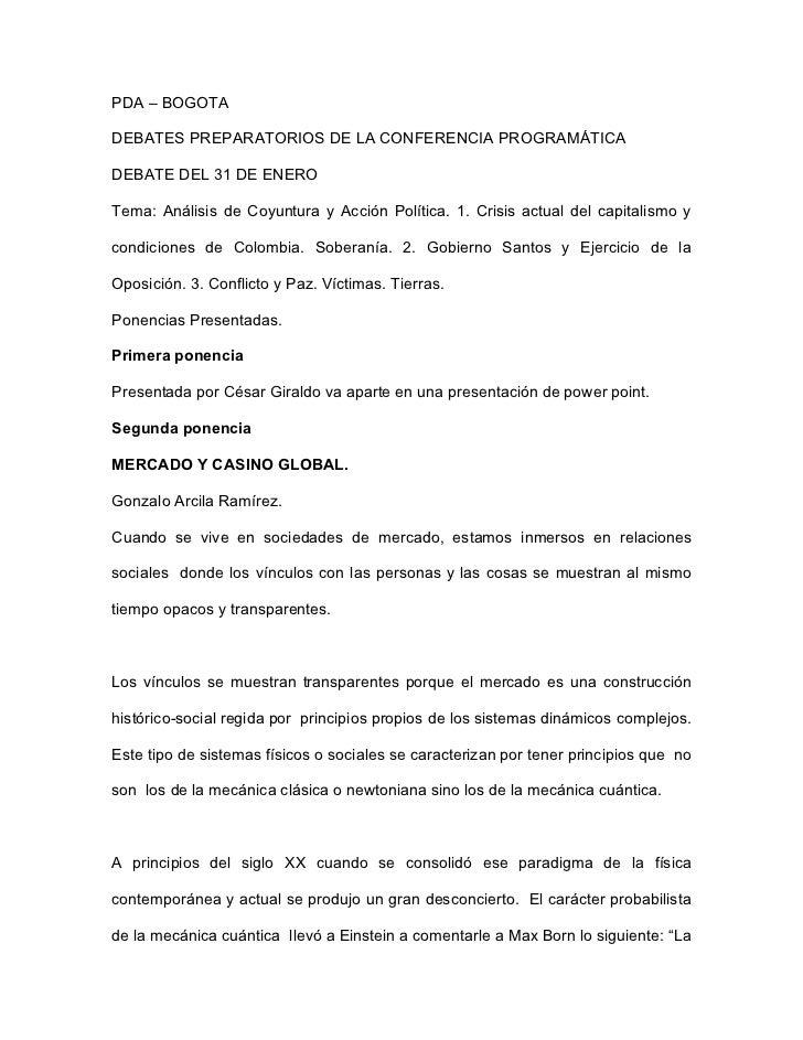 Ponencias debate 31 de enero