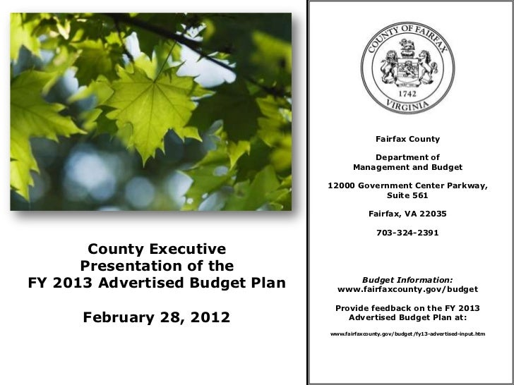 County Executive Presentation of the FY 2013 Advertised Budget Plan