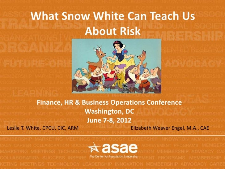 What Snow White Can Teach Us                  About Risk            Finance, HR & Business Operations Conference          ...