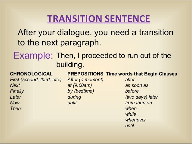 transition thesis How to write a transition sentence if your essay is a road trip and your introduction and thesis are a roadmap, transition sentences are the signs on the road they tell your reader where to turn by connecting where they've been with.