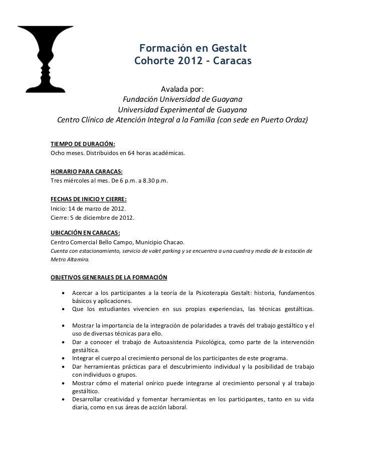 Formación en Psicoterapia Gestalt - Caracas 2012