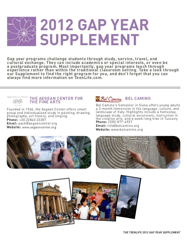 2012 GAP YEAR                    SUPPLEMENTGap year programs challenge students through study, service, travel, andcultura...