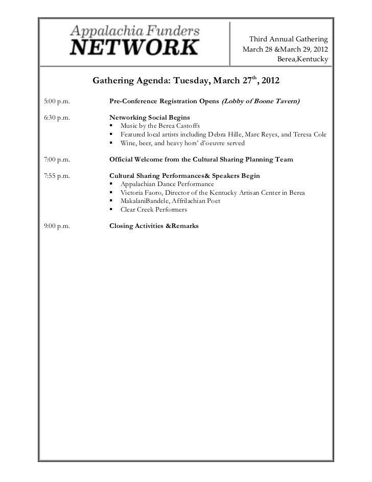 DRAFT 2012 Gathering Agenda