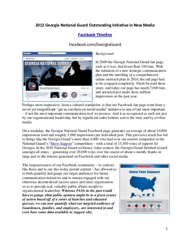 2012 Georgia National Guard Outstanding Initiative in New Media                                      Facebook Timeline    ...