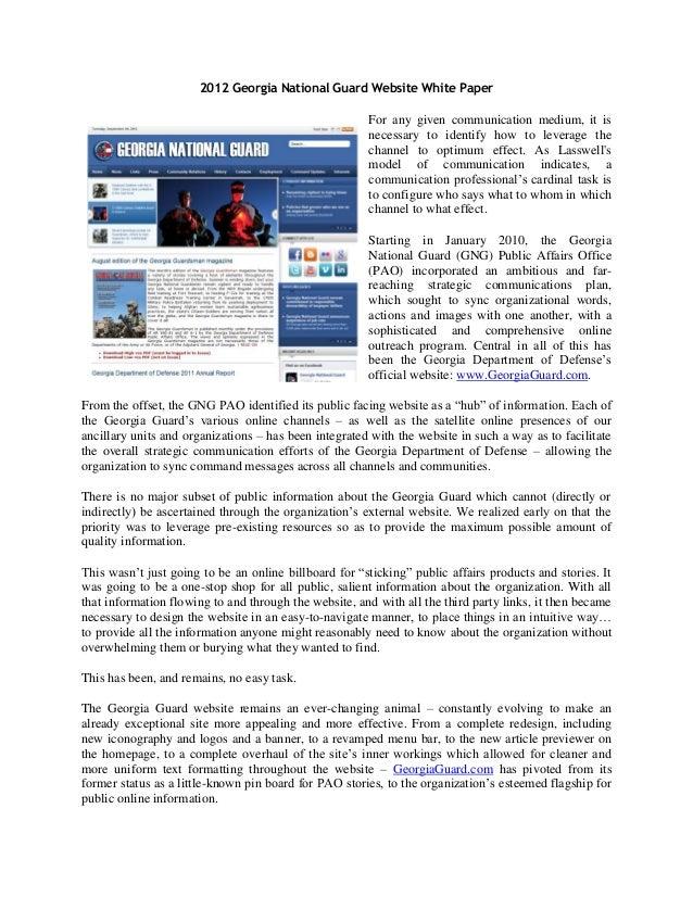 2012 Georgia National Guard Website White Paper