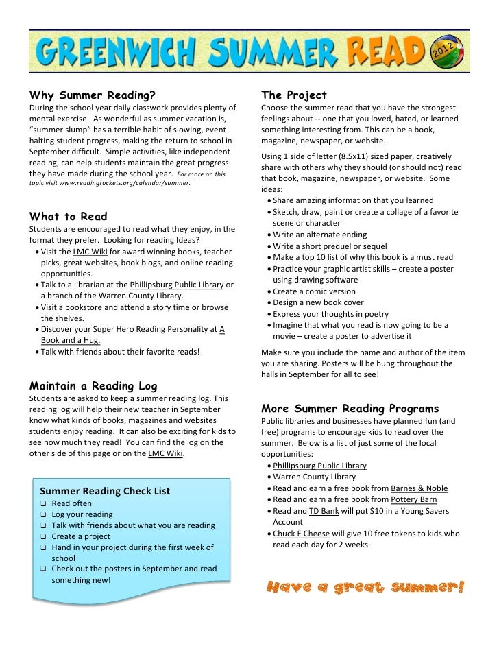 Why Summer Reading?                                             The ProjectDuring the school year daily classwork provides...