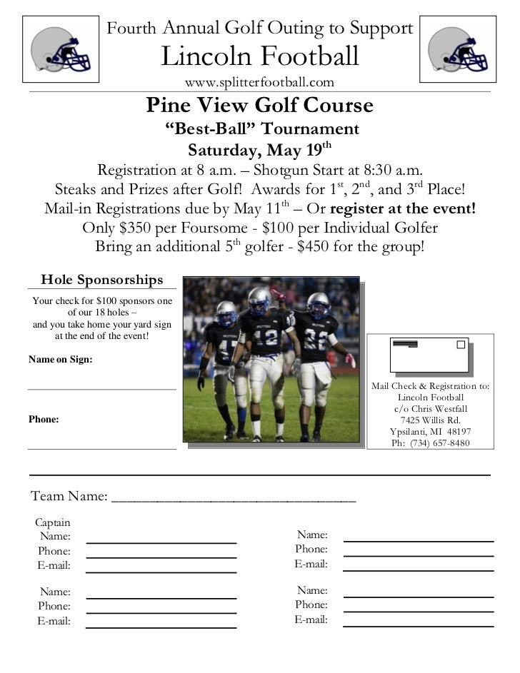 Fourth Annual Golf Outing to Support                             Lincoln Football                                   www.sp...