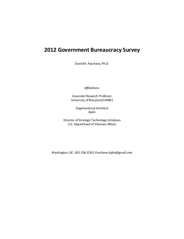 2012 Government Bureaucracy Survey                 David M. Paschane, Ph.D.                         Affiliations:         ...