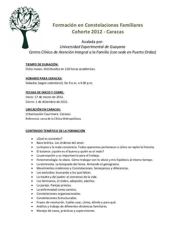 Formación en Constelaciones Familiares                             Cohorte 2012 - Caracas                                 ...