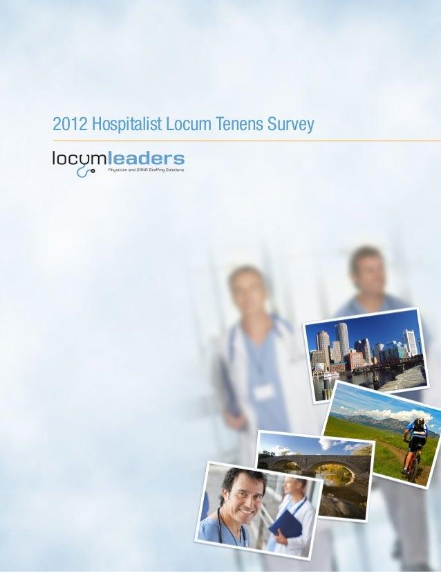 2012 hospitalist locum tenens survey from locum leaders