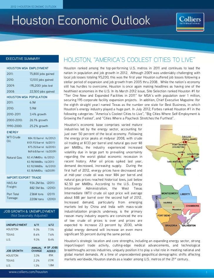 2012 | HOUSTON ECONOMIC OUTLOOK        Houston Economic Outlook EXECUTIVE SUMMARY                                         ...