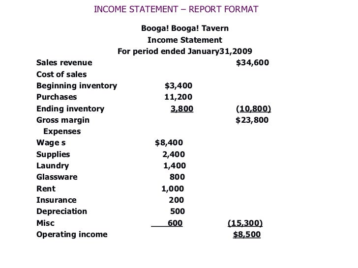 Restaurant Income Statements - Text