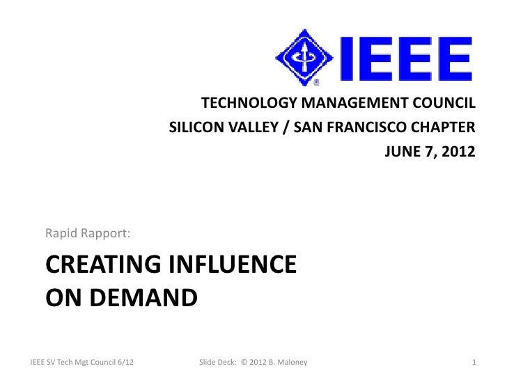 TECHNOLOGY MANAGEMENT COUNCIL                                SILICON VALLEY / SAN FRANCISCO CHAPTER                       ...