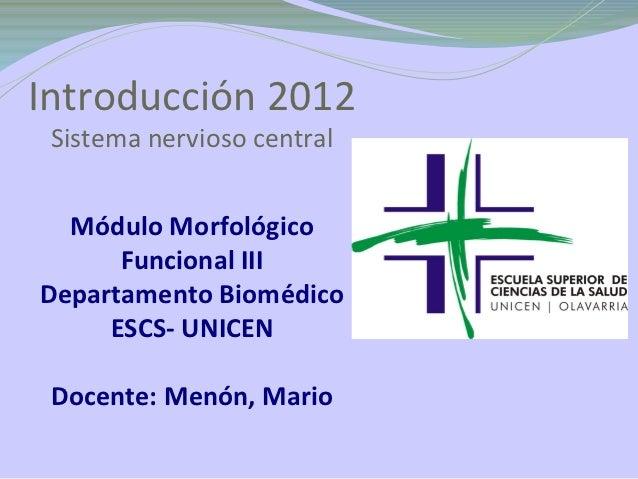 Introducción 2012 Sistema nervioso central  Módulo Morfológico      Funcional IIIDepartamento Biomédico     ESCS- UNICEN D...