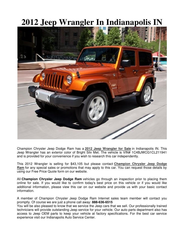 2012 Jeep Wrangler In Indianapolis IN