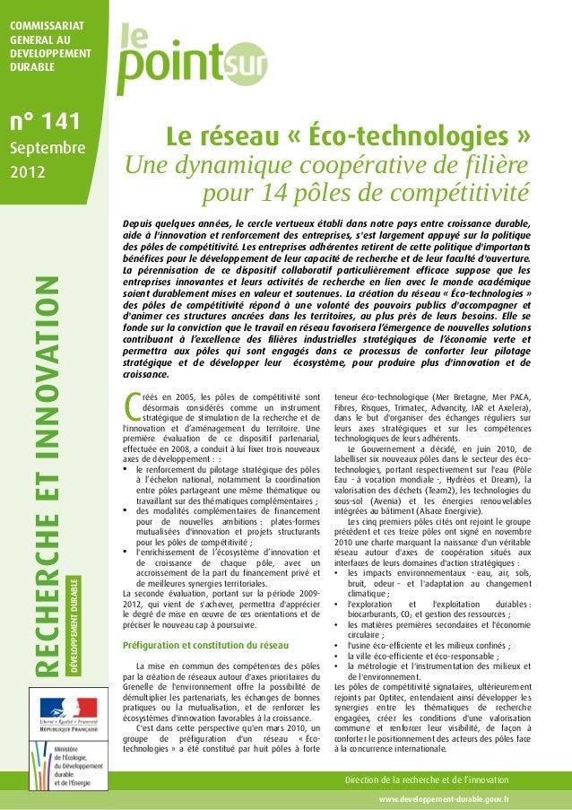RECHERCHEETINNOVATION DÉVELOPPEMENTDURABLE www.developpement-durable.gouv.fr Direction de la recherche et de l'innovation ...