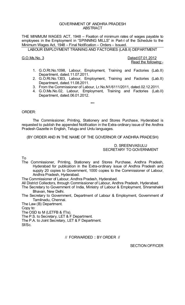 GOVERNMENT OF ANDHRA PRADESH ABSTRACT THE MINIMUM WAGES ACT, 1948 – Fixation of minimum rates of wages payable to employee...