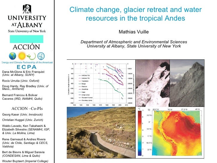 Climate change, glacier retreat and water                                          resources in the tropical Andes        ...