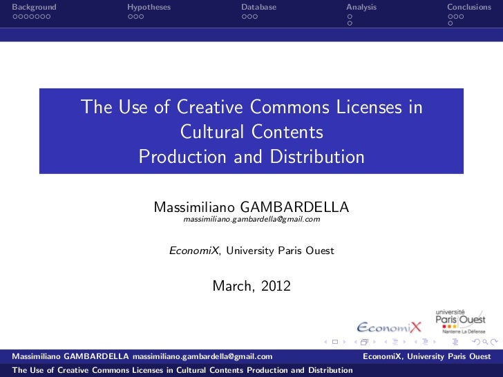 The Use of Creative Commons Licenses